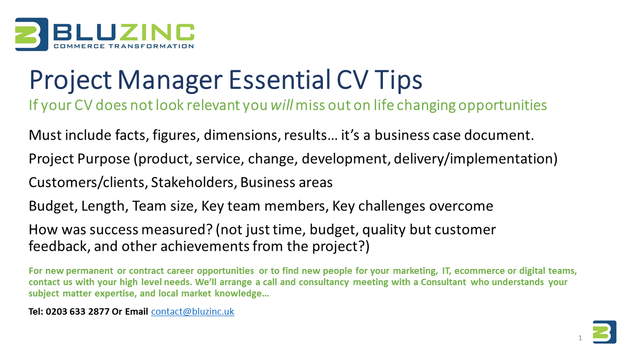 project manager essential cv interview tips