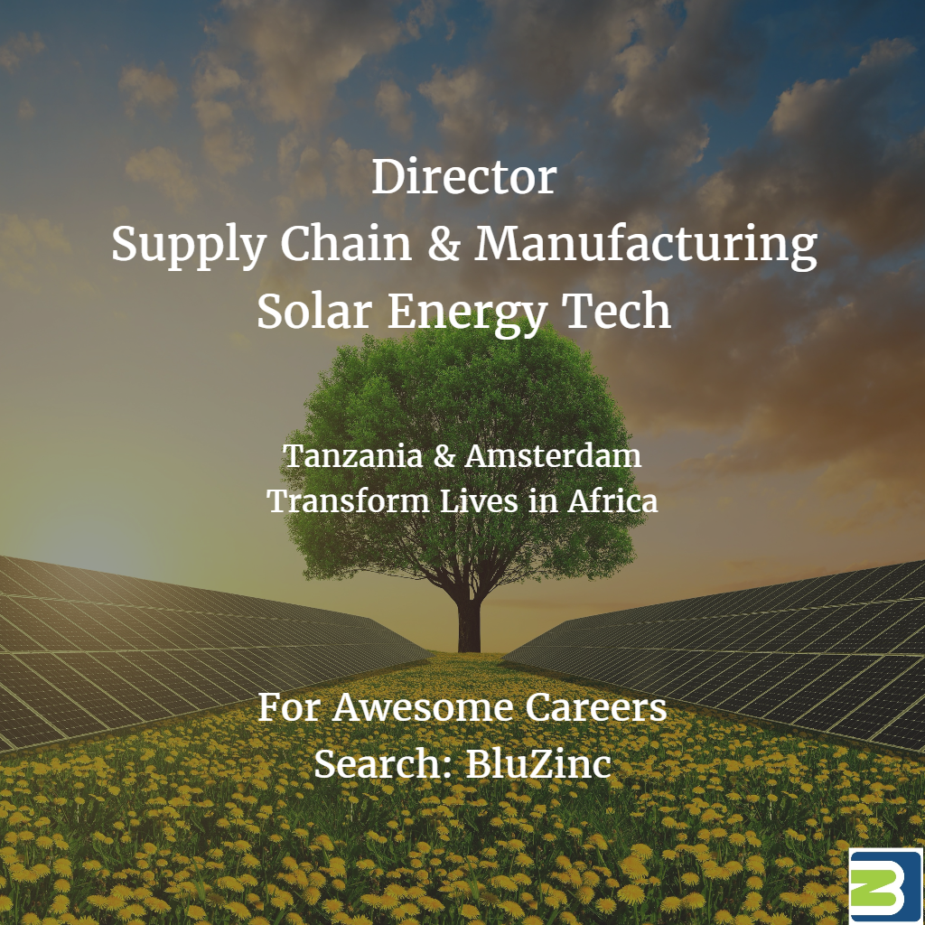 Director Supply Chain Manufacturing Digital Solar Energy BluZinc Tanzania Amsterdam