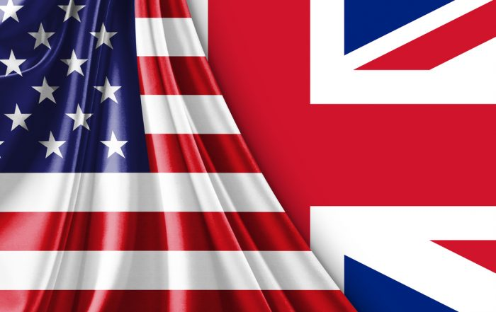 Image of BluZinc UK USA Special Relationship Flag's which are merged together as one