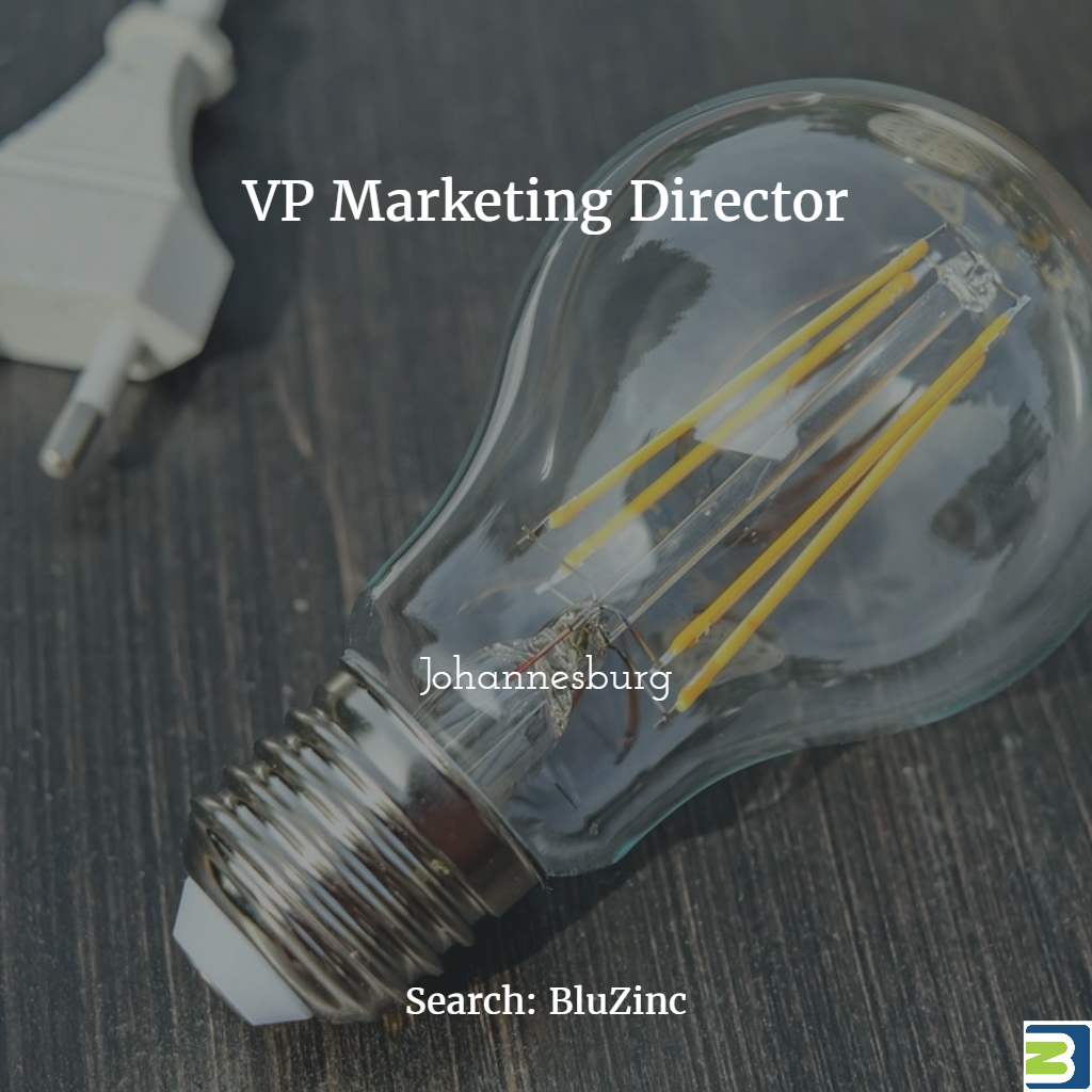 VP Marketing Director in Johannesburg for Expanding EnergyTech Start-Up