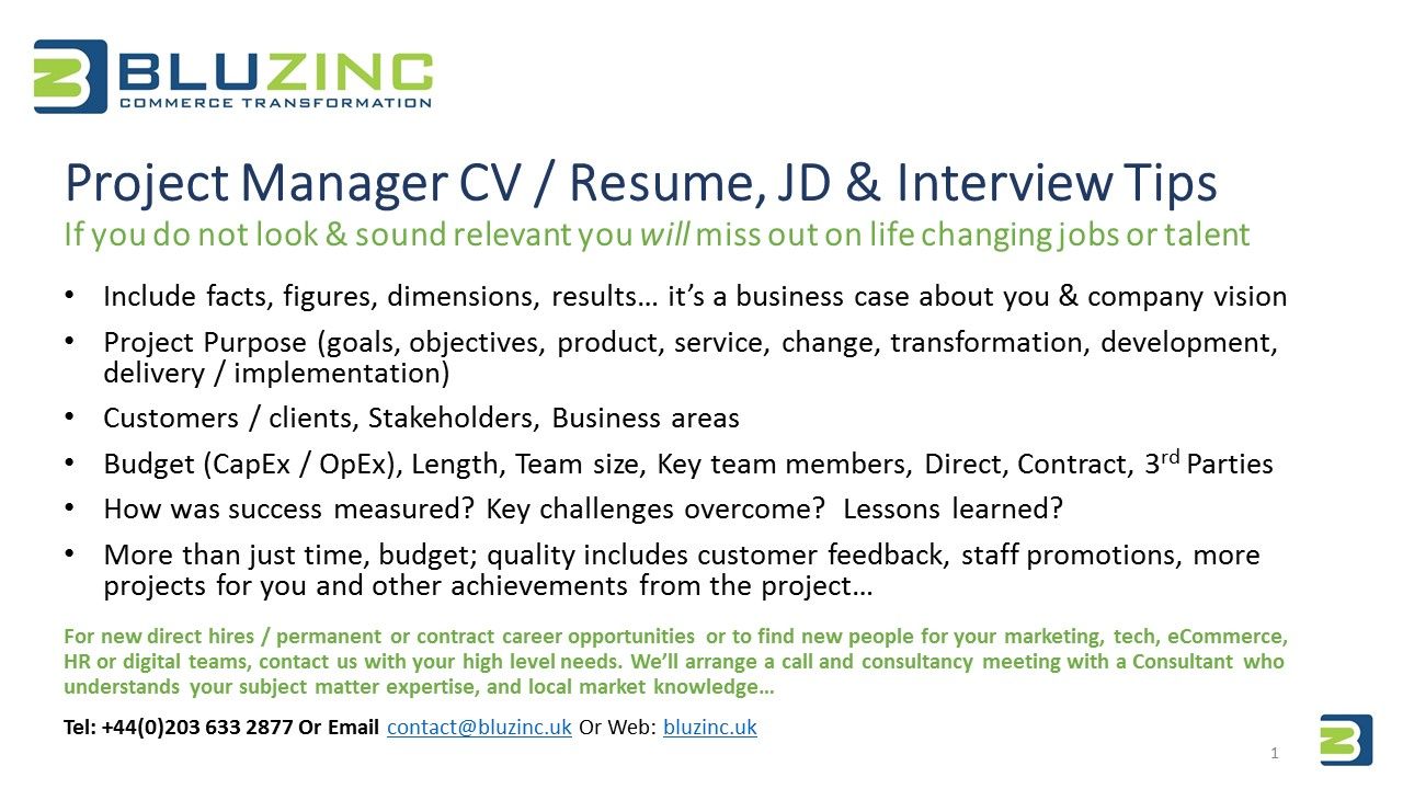 project manager essential cv  u0026 interview tips